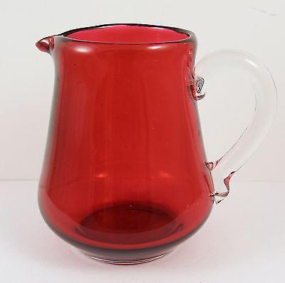 Lovely Vintage Cranberry Glass Cream Jug
