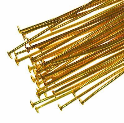 250 Gold Plated Flat Headpins 40mm Metal Head Pins Jewellery Making Findings