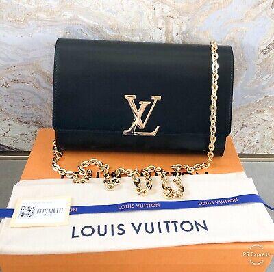 In Stores! Louis Vuitton Louise GM Black Calfskin Leather Chain Shoulder Bag (Louis Store)