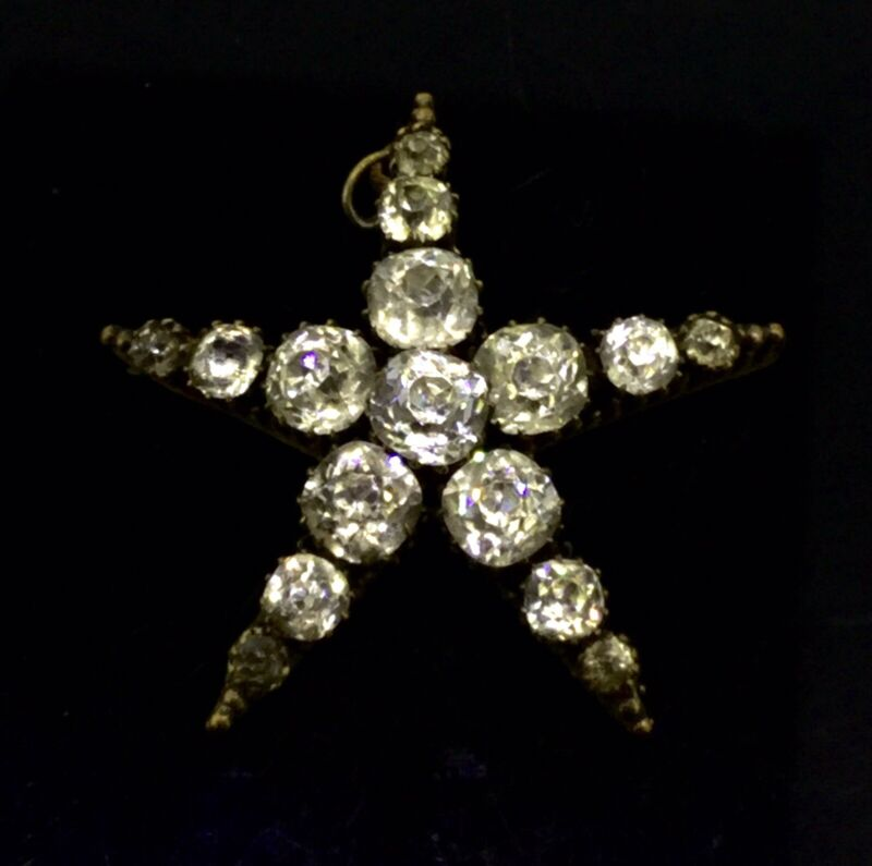 Antique Paste Pendant Black Dot Paste Star Spectacular Gilt Georgian Circa1820s