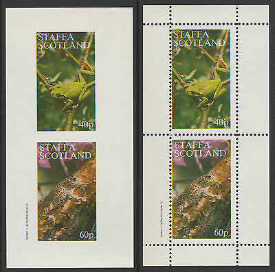 GB Locals - Staffa (112) 1982 FROGS perf & imperf sheetlets  unmounted mint