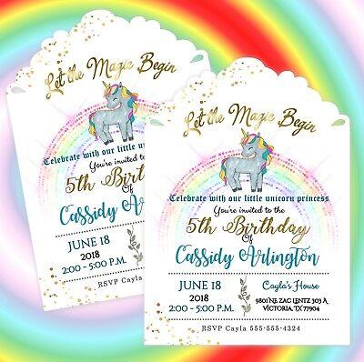Unicorn Birthday Invitations Party Supplies Decoration Personalized Set of 20 Birthday Invitations Decorations