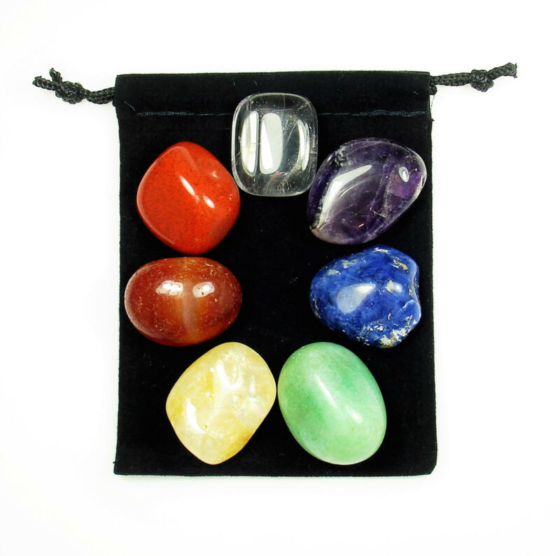7 Stone CHAKRA HEALING Tumbled Crystal Set (C2) with 8 page Instruction Booklet