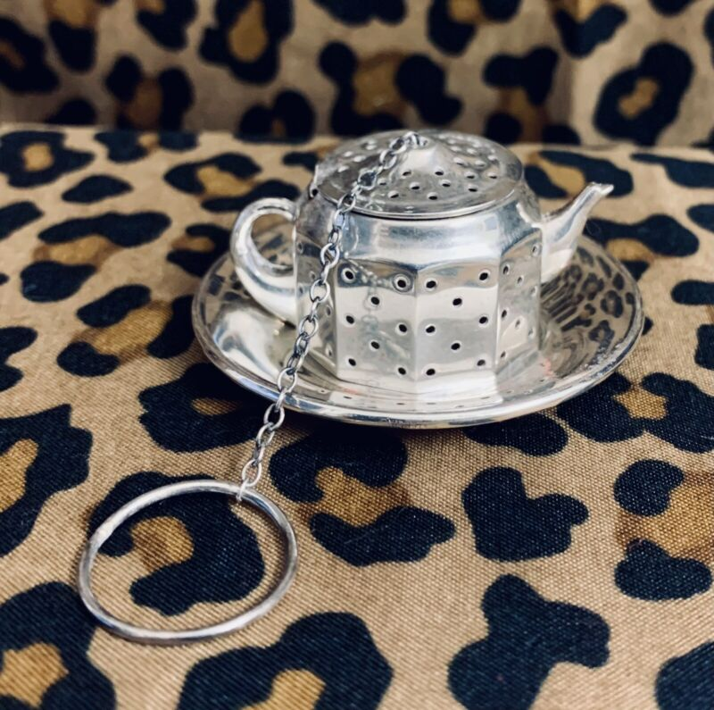 Vintage Amcraft Sterling Silver Tea Infuser Strainer Teapot with UnderPlate