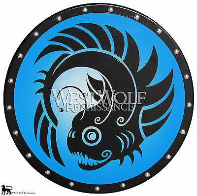 Round GREEK LANTERN FISH SHIELD - sca/larp/new/wooden/spartan/roman/viking/armor - Roman Round Shield