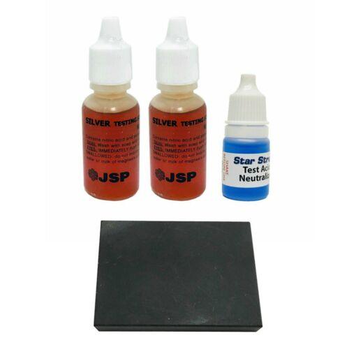 2 JSP Silver Test Acid Jewelry Testing Sterling Solution w/ Neutralizer & Stone