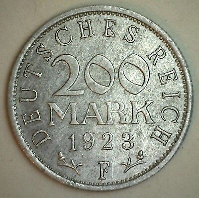 1923 F Germany 200 Mark Coin XF Extra Fine AU Almost Uncirculated