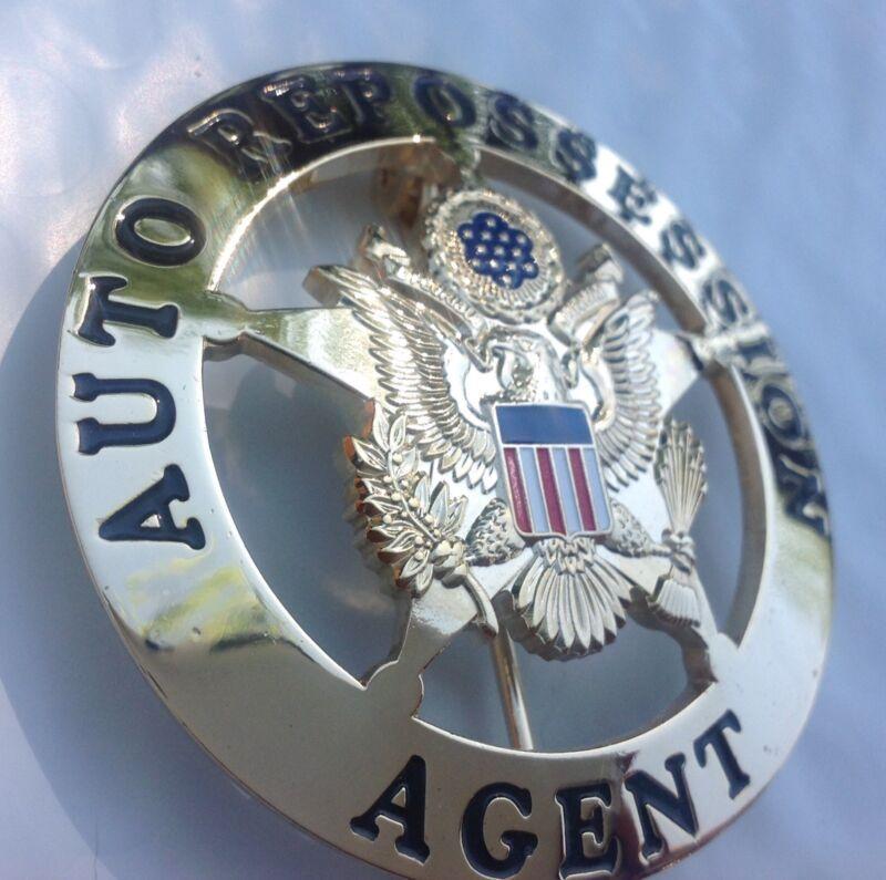 Auto Repossession Repo Man Badge  gold plating
