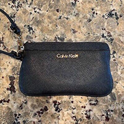 Calvin Klein Saffiano Leather Zip Around Wallet Wristlet Black Gold. NWT