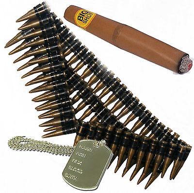 Bullet Belt, Dog Tag & Cigar 80s A Team Army Terminator Mexican Fancy - Terminator Fancy Dress Kostüm