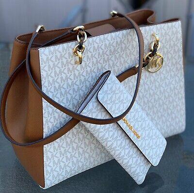 Michael Kors Vanilla  MK Signature Large Sofia Chain  Shoulder Bag  and Wallet
