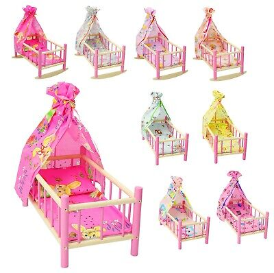 """NEW DOLLS ROCKING BED COT CRIB WOODEN PINK with canopy Fits Up to 50cm 19"""" Doll"""