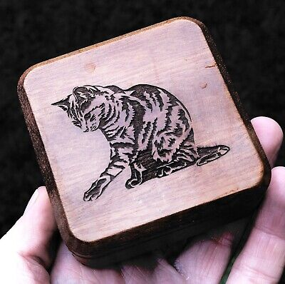 Wood Wooden Cat Kitten Design Carved Magnetic Magic Trinket Box Container