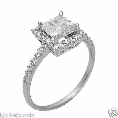 - 1.75Ct 14K White Gold Princess Halo Engagement Wedding Propose Promise Ring