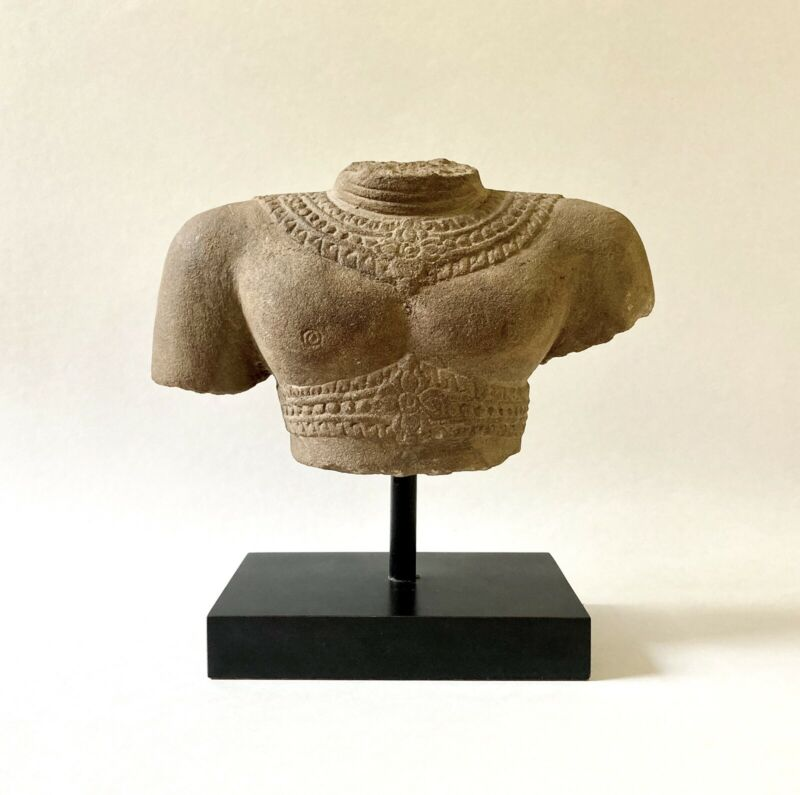 Antique? Khmer Carved Sandstone Male Deity Torso Statue Fragment, Cambodia