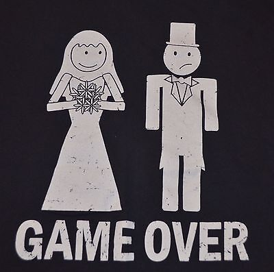 Marriage Game Over T-Shirt Groom Gift Best Man Bride to Be Wedding size