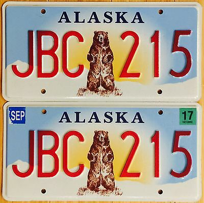 Alaska Standing Bear License Plate Pair - 2 Plates - JBC 215