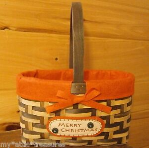 MERRY-CHRISTMAS-Holiday-WICKER-BASKET-Handle-Lg-Woven-Wooden-Strap-RED-Felt-GIFT