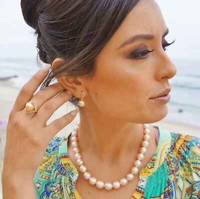 Golden South Sea 10mm AAA Pearl & Diamond Earrings