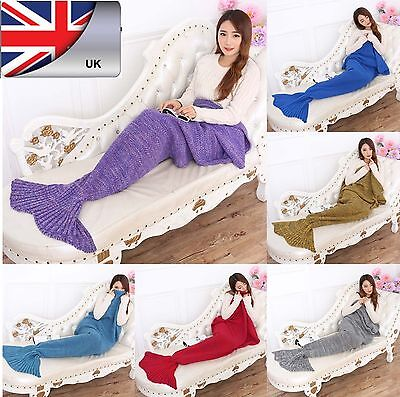 Handmade Crocheted Mermaid Tail Sofa Blanket Cocoon Knit Lapghan Beach Quilt Rug