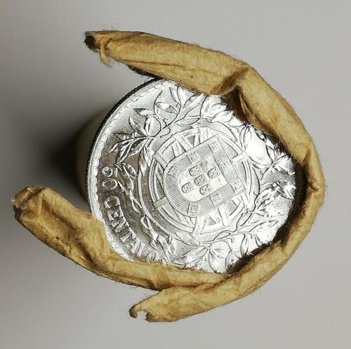 PORTUGAL  50 centavos silver 1916 from original ROLL impossible better