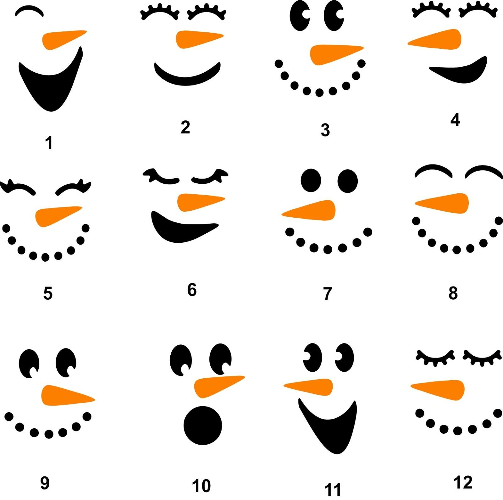 Home Decoration - Snowman Face decal ornament, tumbler, cup window, sticker, you choose style size