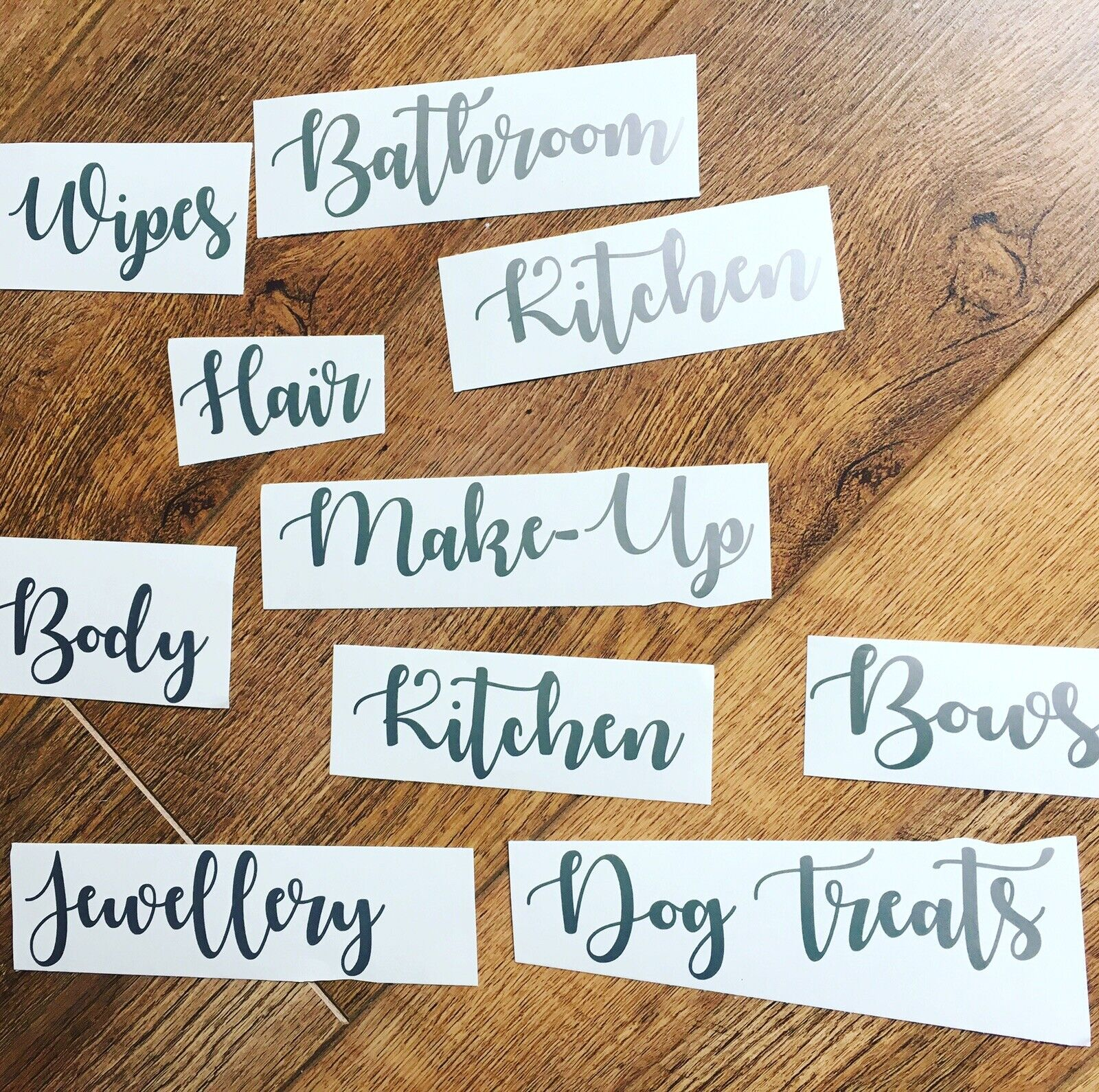 Home Decoration - Silver Household Vinyl Stickers, Labels Decals Storage House, Mrs Hinch Organise