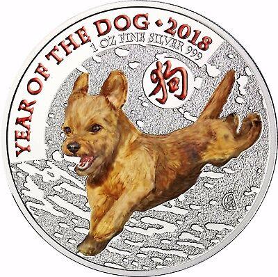 Großbritannien 2 Pfund 2018 Lunar Hund Silbermünze Jahr des Hundes in Farbe (Silber Pfund)
