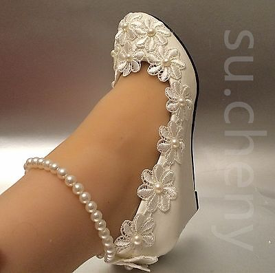 su.cheny White light ivory snow wedges pearls anklet lace We
