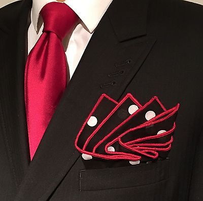 Pocket Square Black & White Polka Dot Red Stitched Borders By