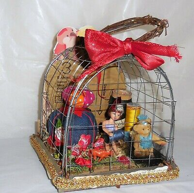 OOAK Caged Doll Sewing Pincushion Collage Lovebirds Art Novelty Decor