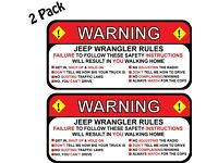 Jeep Rules Warning Safety Instructions Funny Decal Sticker Wrangler Sahara 2