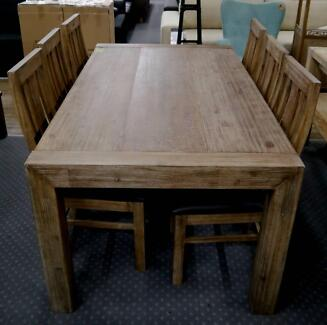 RRP.$1695 New Rustic Timber 7pc Dining Table & Chairs Setting Richmond Yarra Area Preview