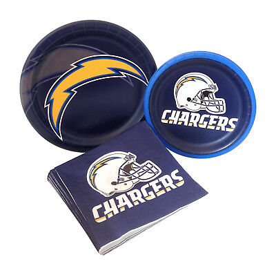 Los Angeles LA Chargers Football Tailgating Party Paper Plates Napkins for - Paper Chargers For Plates