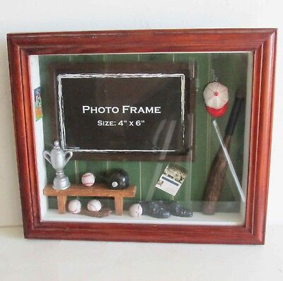 (SPORTS Baseball Photo Shadow Box Wood Frame w Glass 4x6 photo 9.25x10.5