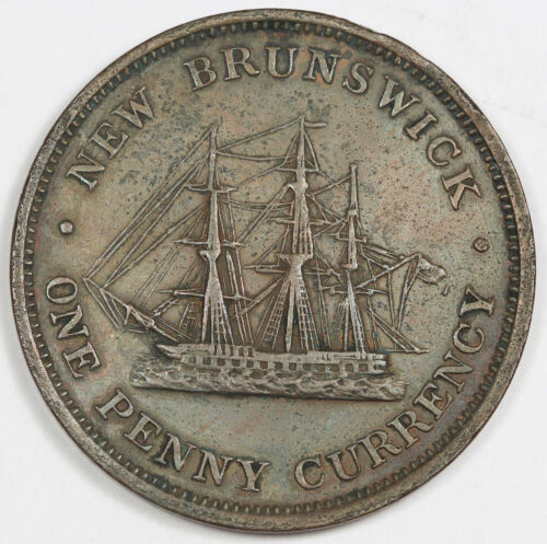 Canada New Brunswick 1854 1 Penny Token Queen Victoria Sailing Ship XF Scarce