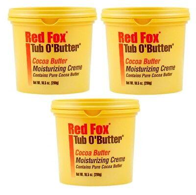 3 X Red Fox Tub O' Butter Cocoa Moisturising Cream 298g Each