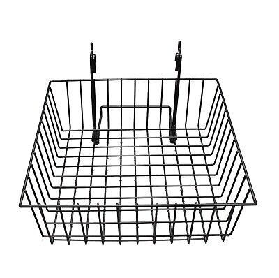12x12 Metal Gridwall Basket Slatwall Basket Pegboard Basket Shallow Basket Hooks
