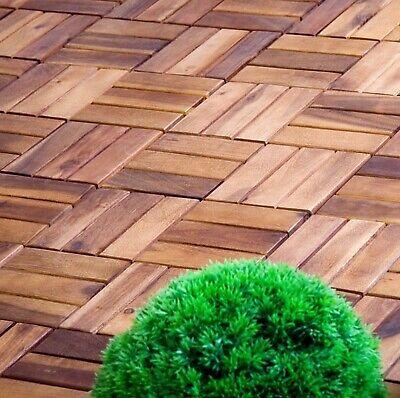 10 x Acacia Hardwood Interlocking Floor /  Decking Tiles 12 slat Outdoor/Indoor