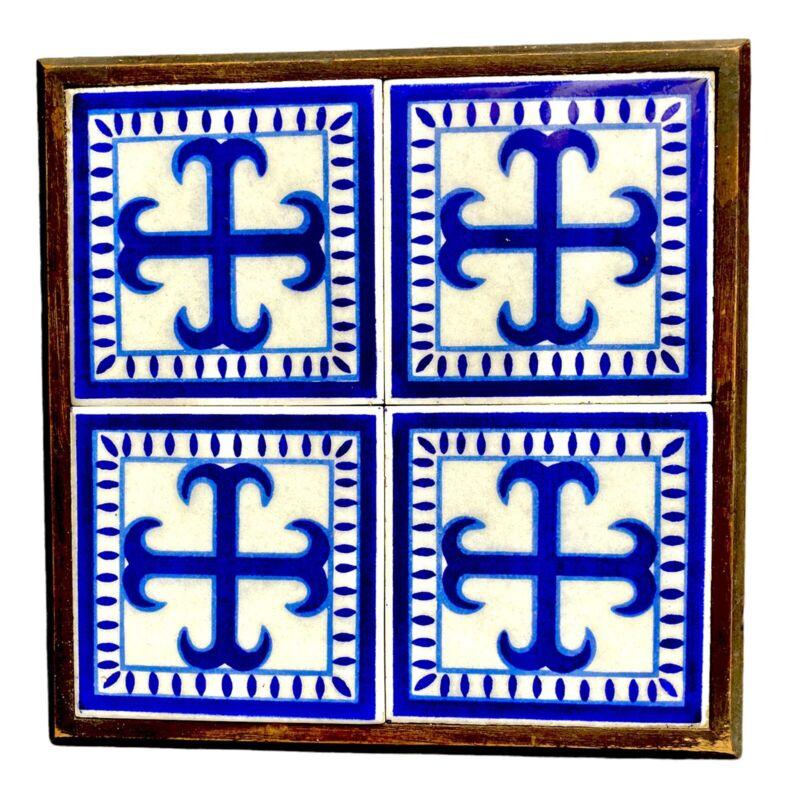 """Ideal Standard Mexican Tile Wood Framed Trivet Cobalt Blue Crosses 10"""" Square"""
