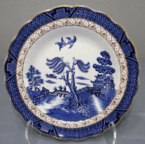 """Booths REAL OLD WILLOW Blue A8025 Rim Soup Bowl 8 1/2"""" Royal Doulton"""