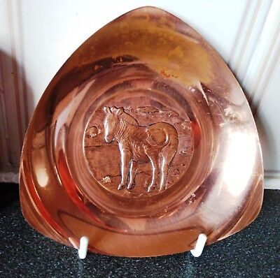 Hanging Triangle Copper Plate with Zebra Image.D-14cm/W-120g.Brightness Damaged