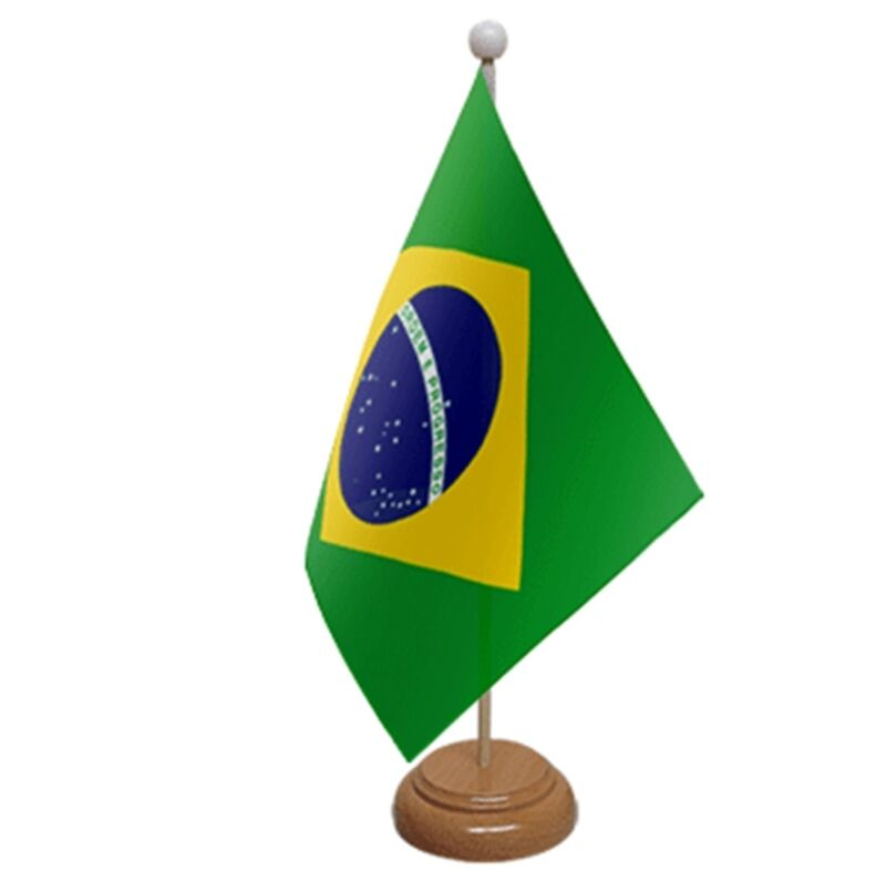 """BRAZIL TABLE FLAG 9""""X6"""" WITH WOODEN BASE FLAGS"""