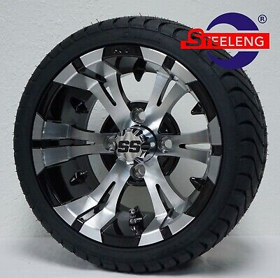 """GOLF CART 12"""" VAMPIRE WHEELS and 215/35-12 DOT LOW PROFILE TIRES (SET OF 4)"""