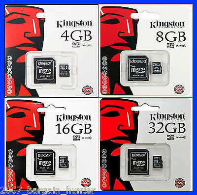 KINGSTON 4GB 8GB 16GB 32GB MICRO SD HC MICROSDHC + ADAPTOR MEMORY CARD CLASS-4