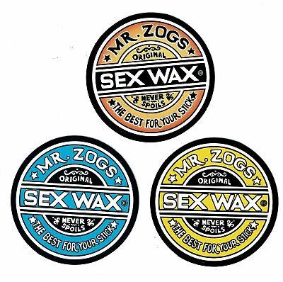 "Board Surf MR ZOGS SEX WAX 3-pack Sticker Decal 3/""x3/""ea.. Skate Beach Zoggs"