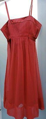 BCBGMAXAZRIA Burnt Orange Rust Clay Strapless Silk Empire Waist Sash Dress Sz 4