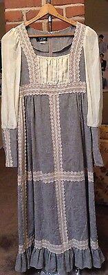 Jessica McClintock Vintage 70s Gunne Sax Prairie Boho Dress Black Label Size 13