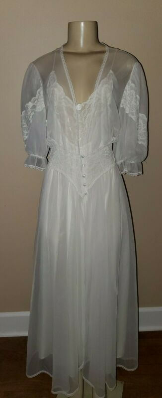 Vintage Val Mode White Robe and Nightgown Peignoir Size Large