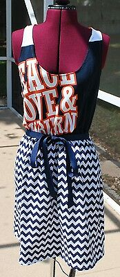 Auburn University War Eagles Tigers Tank Navy Chevron Dress Upcycled T-Shirts M